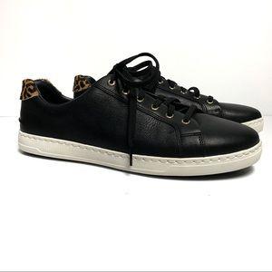 NWOT Sperry Black/Cheetah Leather Sneakers Sz 11